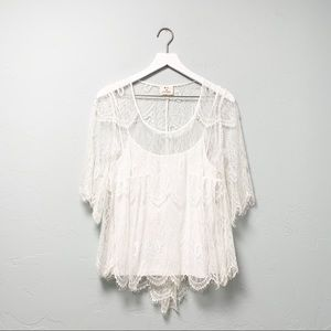 Pins and Needles White Eyelash Lace Blouse sz M